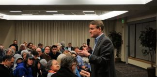 Colorado Sen. Michael Bennet speaks to constituents in Littleton on Feb. 18, 2020. (Photo by Forest Wilson)