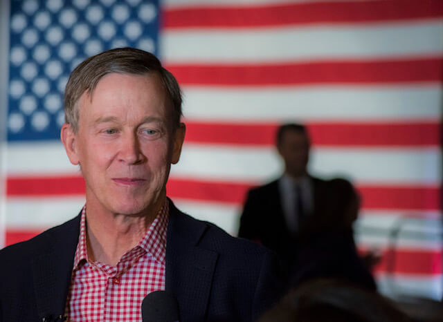 Gov. John Hickenlooper at the Democratic election night party in Denver on Nov. 6, 2018. (Photograph by Evan Semón for The Colorado Independent)